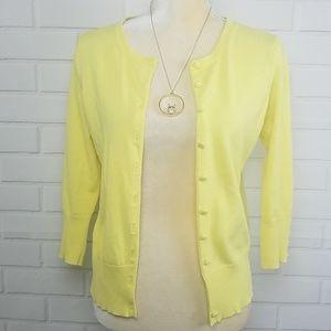 Audrey & Grace yellow cardigan sweater size Medium